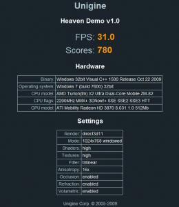 Unigine Heaven avec AMD Fusion