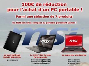 Opération 100€ de réduction chez MSI