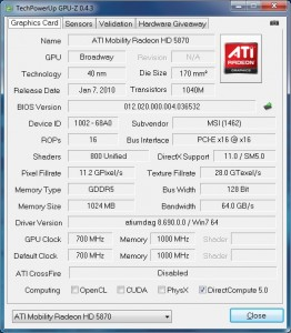 Capture GPU-Z Mobility Radeon HD 5870